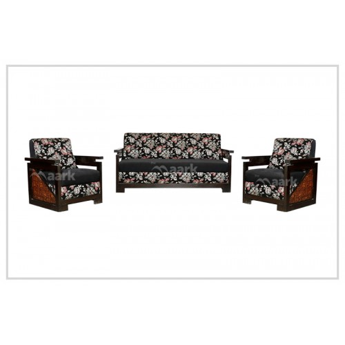 Black Flower Wooden With Fabric Sofa Set 3+1+1