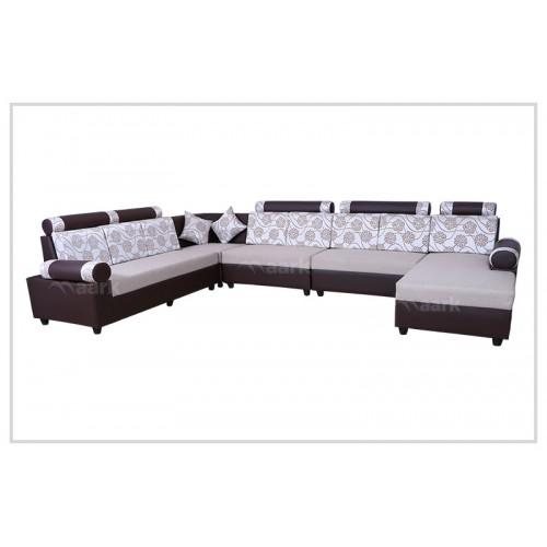 Curvy Fabric Corner Sofa with diwan
