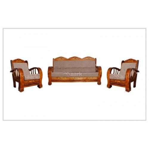 Fabric Teak Wood Art Craft Sofa Set 3+1+1