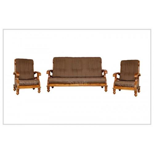 Lativa Teak Wooden Fabric Sofa Set