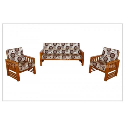 Modern Fabric Teak Wooden Sofa Set 3+1+1