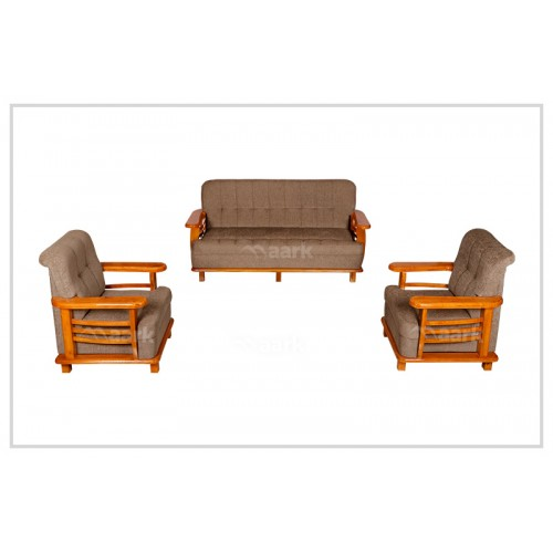 Rich Fabric Teak Wooden Sofa 3+1+1