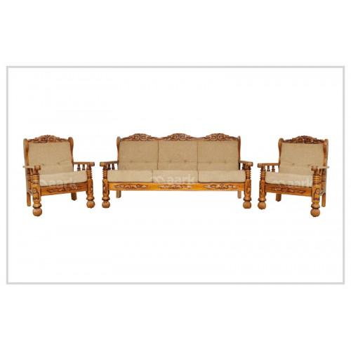 Romina Fabric Teak Wooden Set Sofa
