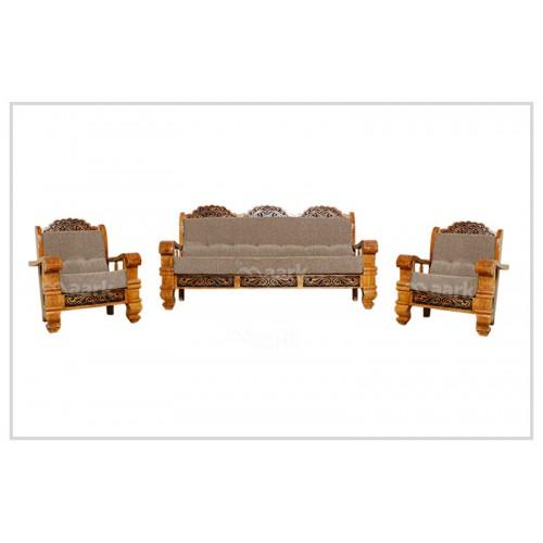 Teak Wooden Black Designed Sofa 3+1+1