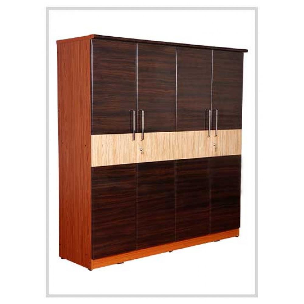 Brown Wooden Four Door Wardrobe
