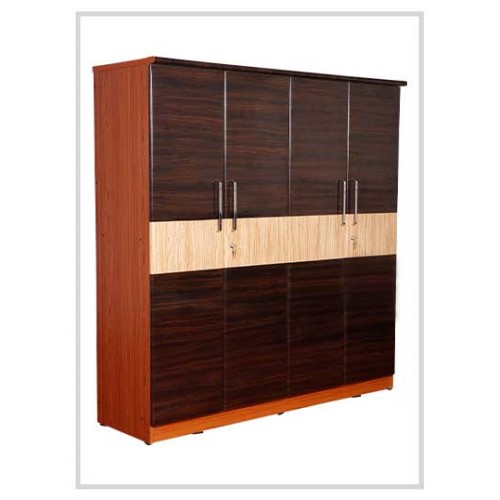 Brown Wooden Four Door Wardrobe