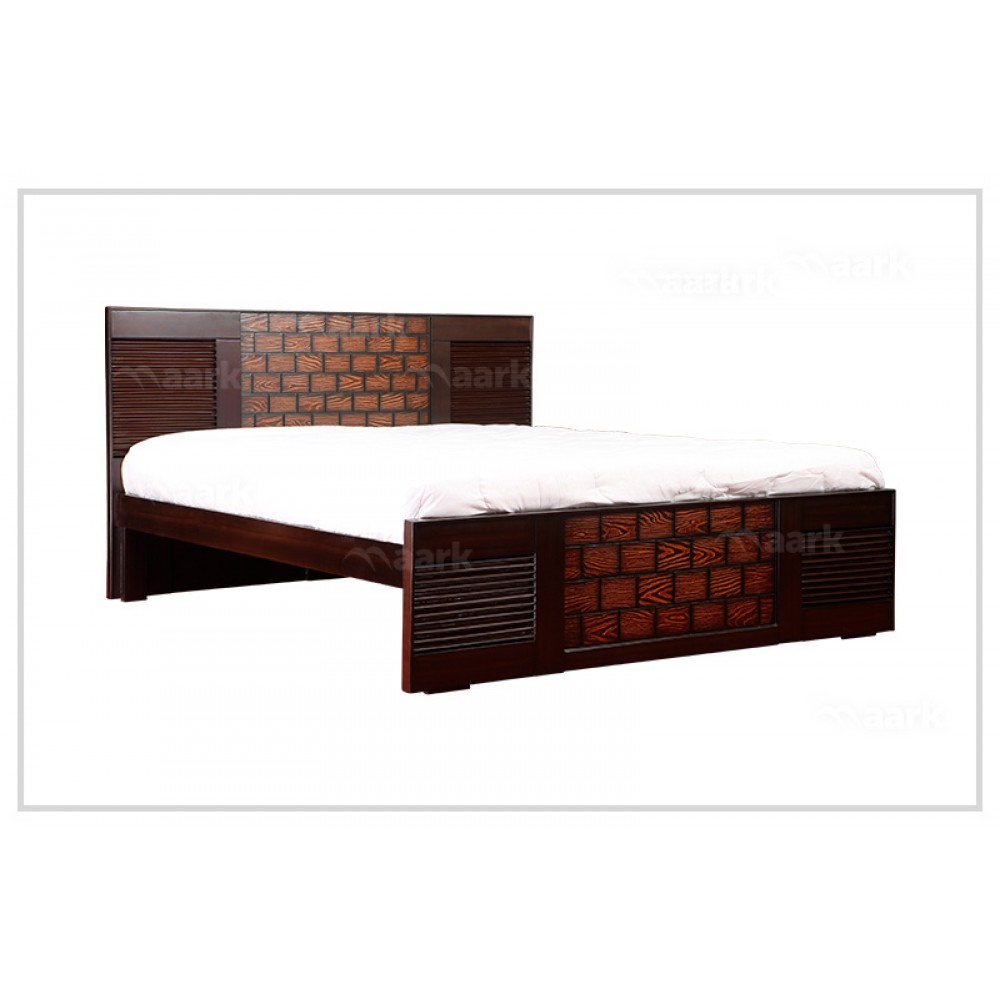 Bricks Wooden King Size Cot