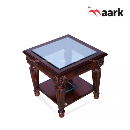 Glass With Wooden Center Table