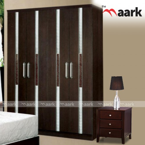 Four Door Wooden Designed Wardrobe