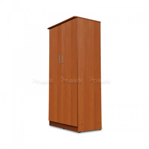 Plain Cherry Color Wooden Two Door Wardrobe