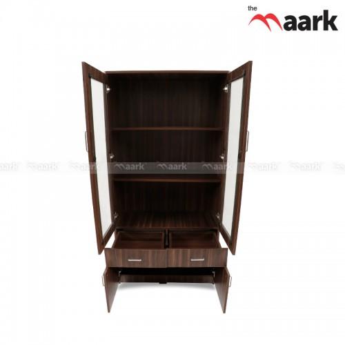Wooden Glass Bookshelf