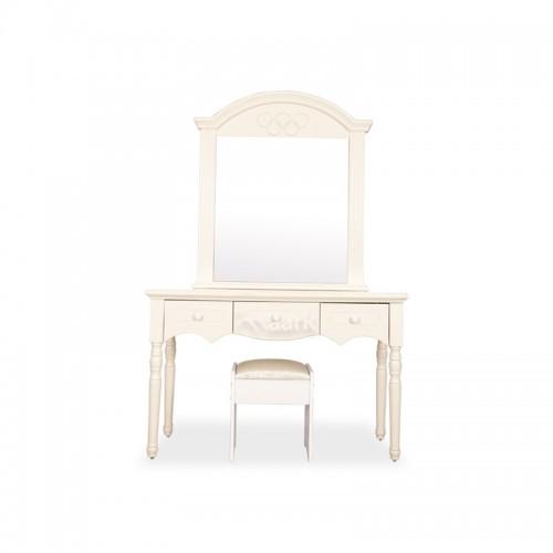 Curve White Designed Glass Dresser Table