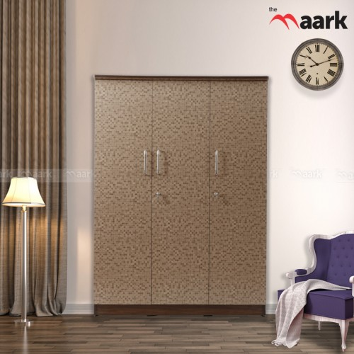 Dotted Classic Three Door Wooden Wardrobe