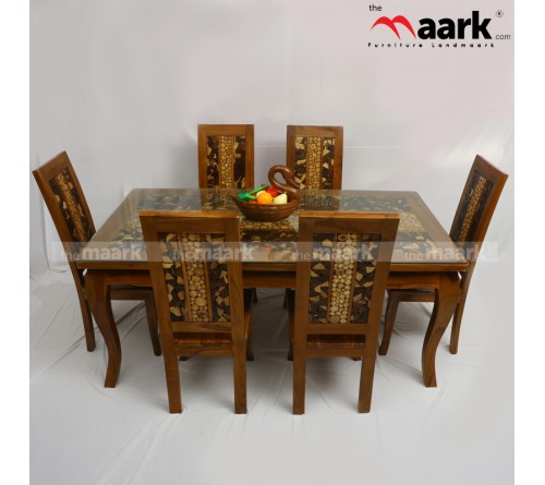 6 Seater Wooden Dining With Wooden Chair and Glass