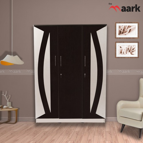 Curve Designed Wooden Triple Door Wardrobe