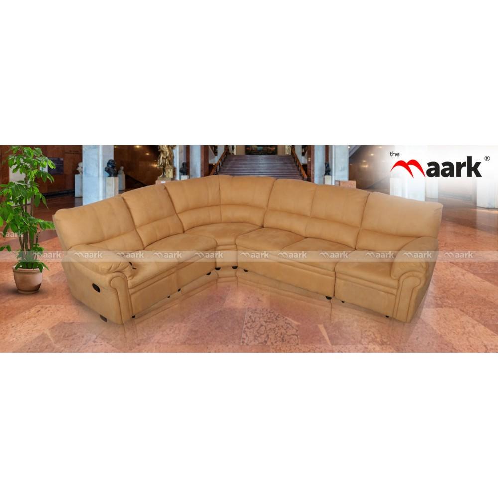 L Shaped Fabric Recliner Sofa