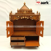 Traditional Wooden Light Pooja Unit With Storage