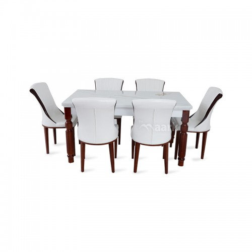 Rich Six Seater Dining Table In White Colour