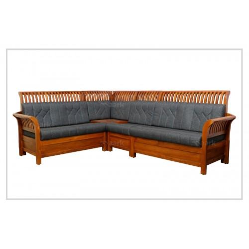 Lined Designed Teak Wooden Corner Sofa