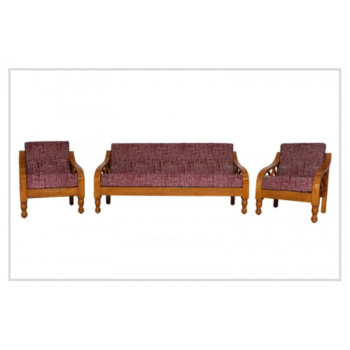 Plain Rinky Teak Wood Sofa 3+1+1