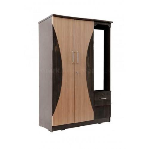 Double Door Wooden Wardrobe With Dresser