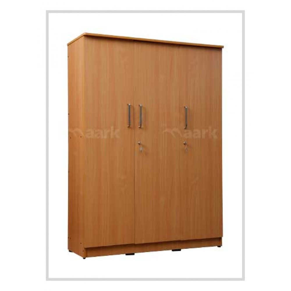 Akron 3 DR Plain Edge Wardrobe in Peach Color