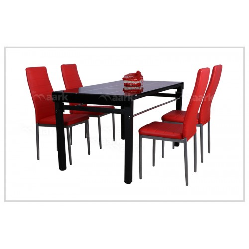 Red Four Seater Glass Dining Table