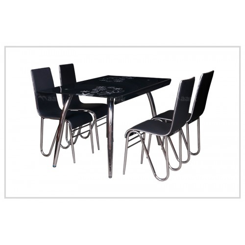 Four Seater Glass Dining Table in Black Color