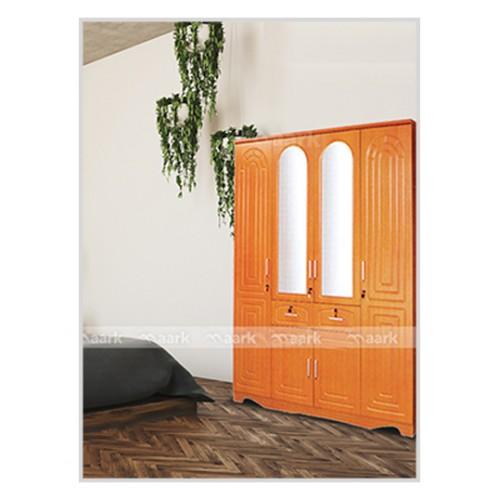Gold Four Door Wooden Wardrobe Designed
