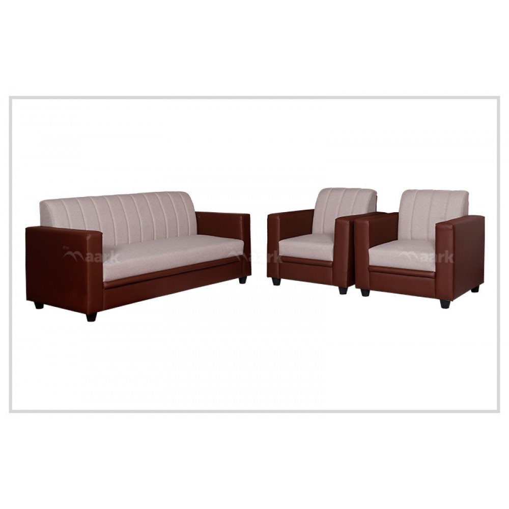 Hack Saw 3+1+1 Fabric Sofa in Sandal and Brown color