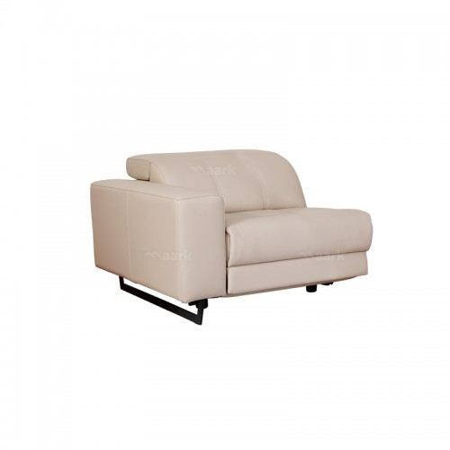 Leather Recliner Corner Sofa in Sandal Color