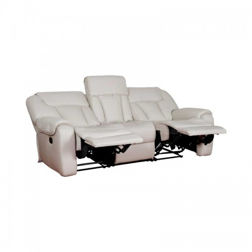 Leather Manual Recliner Sofa in white Color