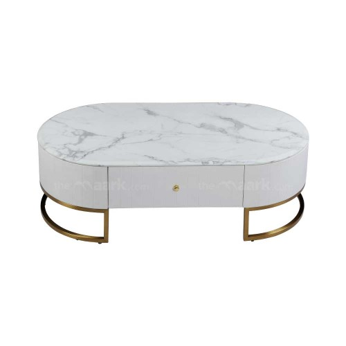 MARBLE COFFEE TABLE IN WHITE WITH GOLDEN COLOR