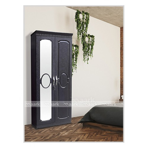 Modern Two Door Wooden with Glass Wardrobe