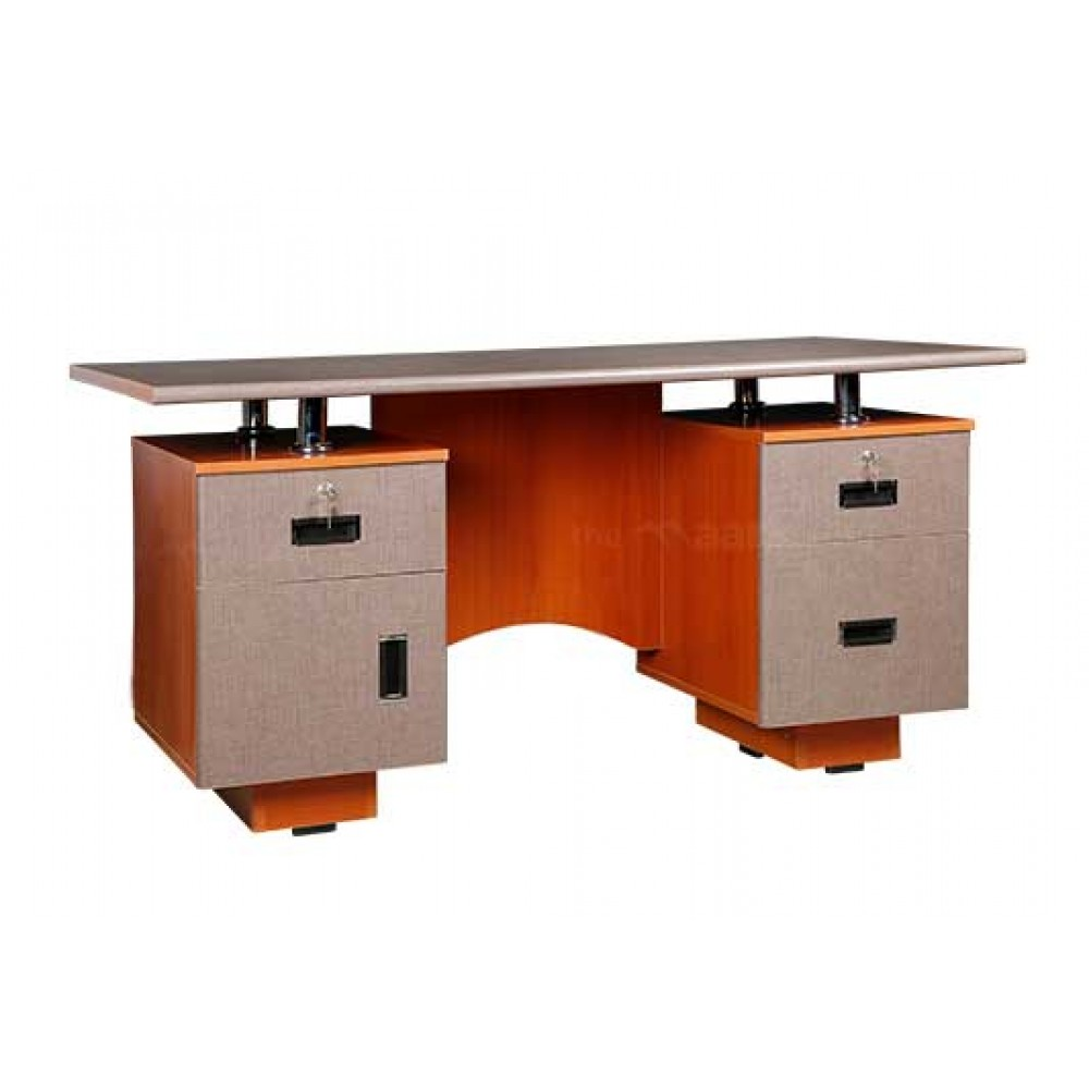 OFFICE TABLE IN CHERRY AND GREY COLOR