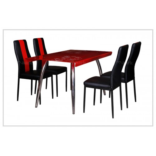Glass Dining Table in Black and Red