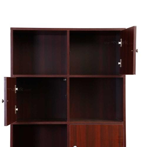 Sarvothiaya Wooden Bookshelf Maroon Color