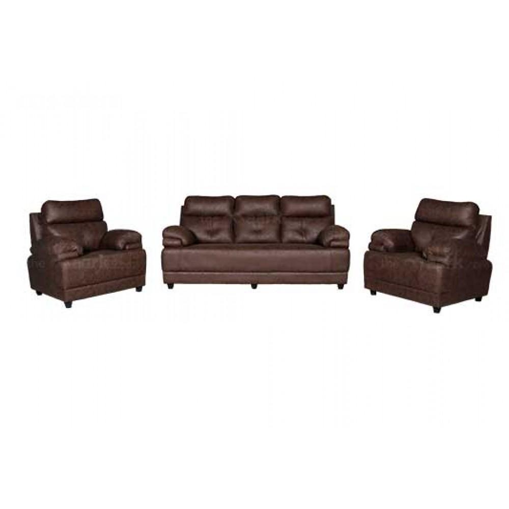 Avisk Leatherette 3+1+1 Sofa in Brown Color