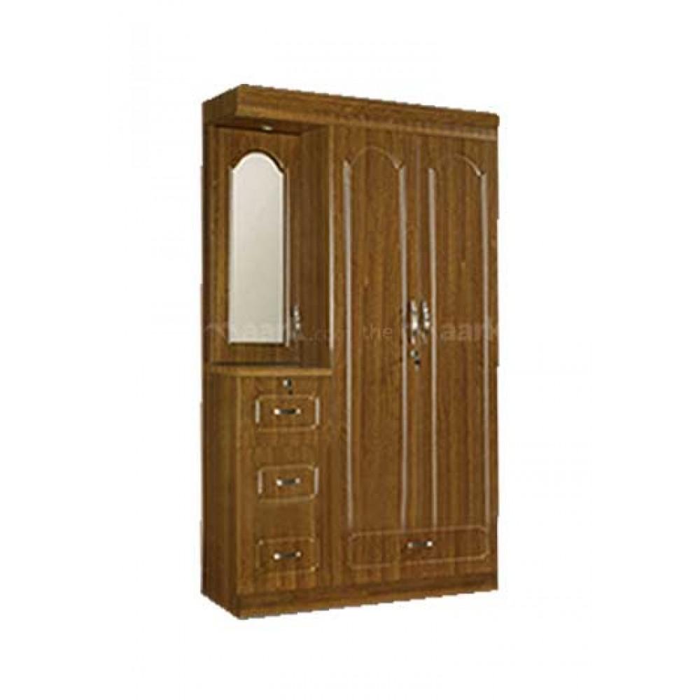Three Door Wooden Wardrobe With Dresser