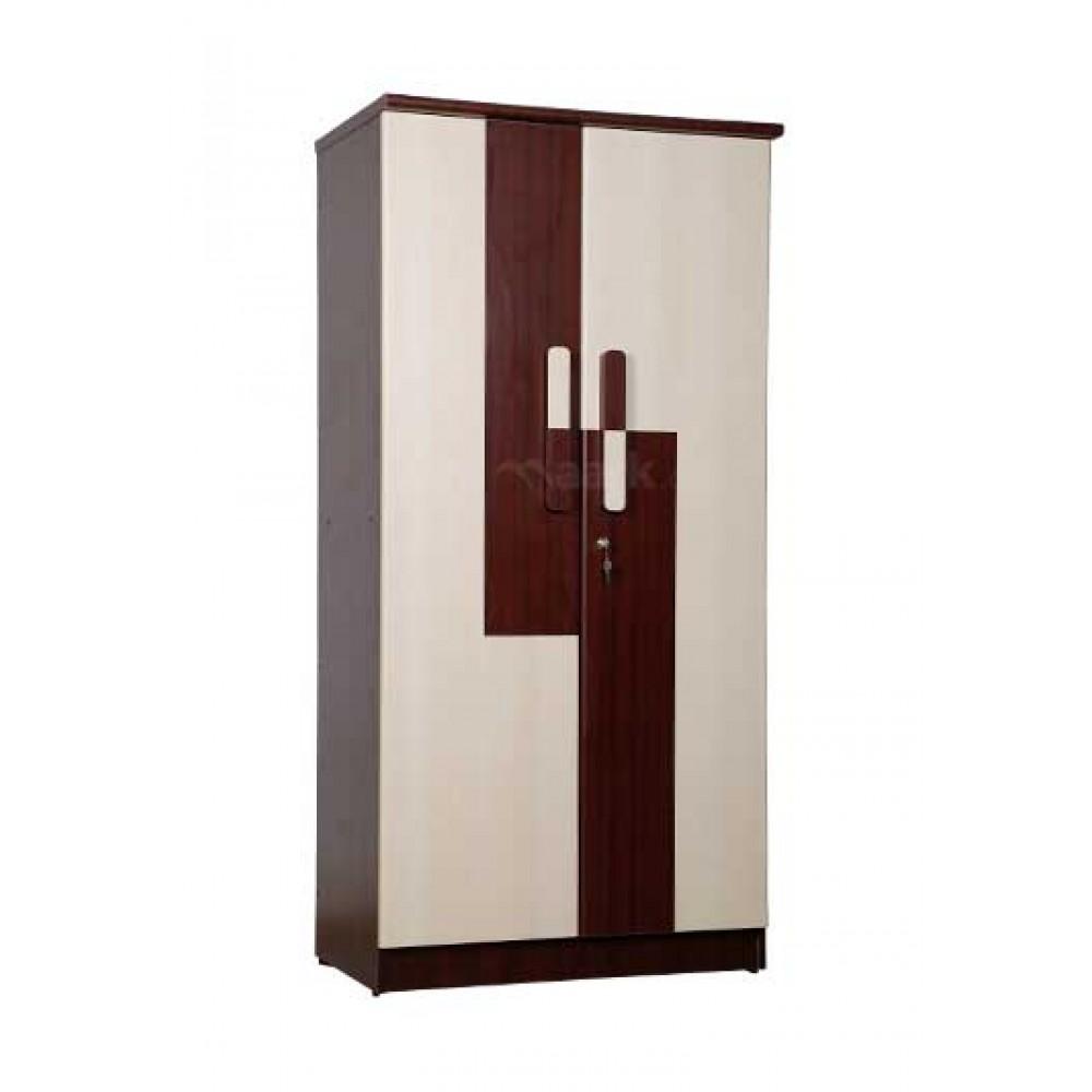 WARDROBE TWO DOOR IN MAHOGANY AND WHITE ACACIA COLOR