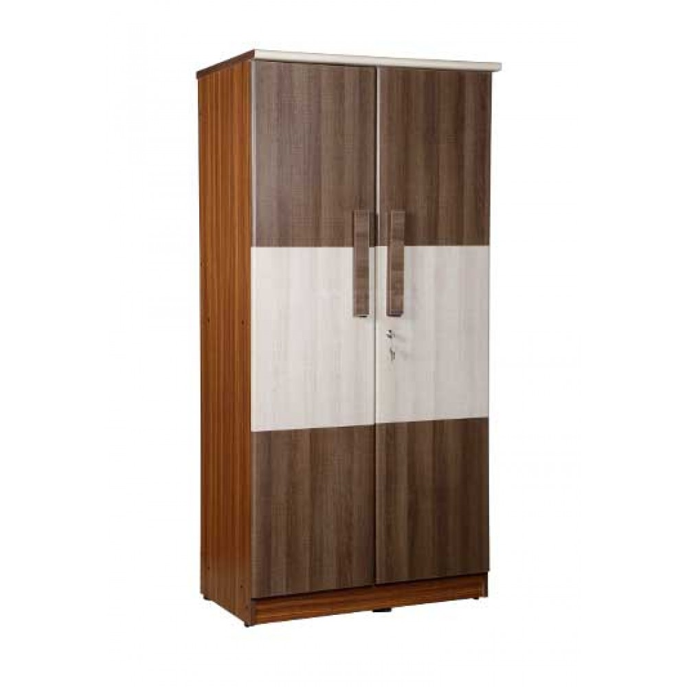 WARDROBE TWO DOOR IN WHITE ACACIA AND WALK LINE BROWN COLOR