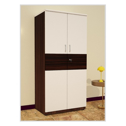 Wooden White with Black Two Door Wardrobe