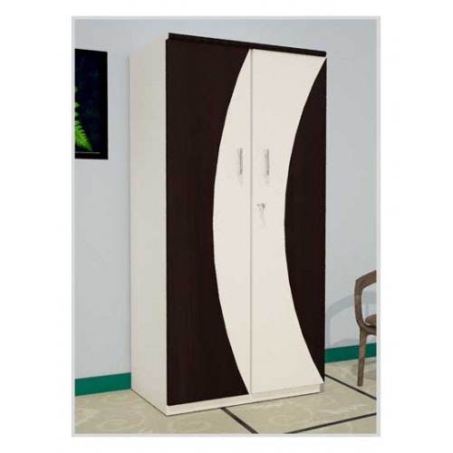 White Wooden Two Door Wardrobe