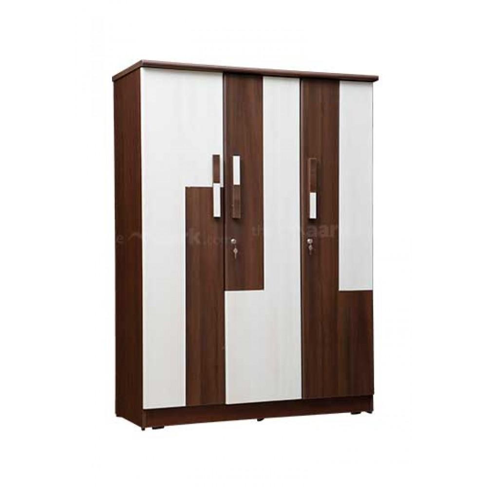 WOODEN THREE DOOR WARDROBE IN AMERICAN WALLNUT WITH GLOSSY WHITE