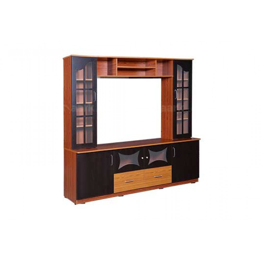 Wooden Wall TV Unit in Brown Color
