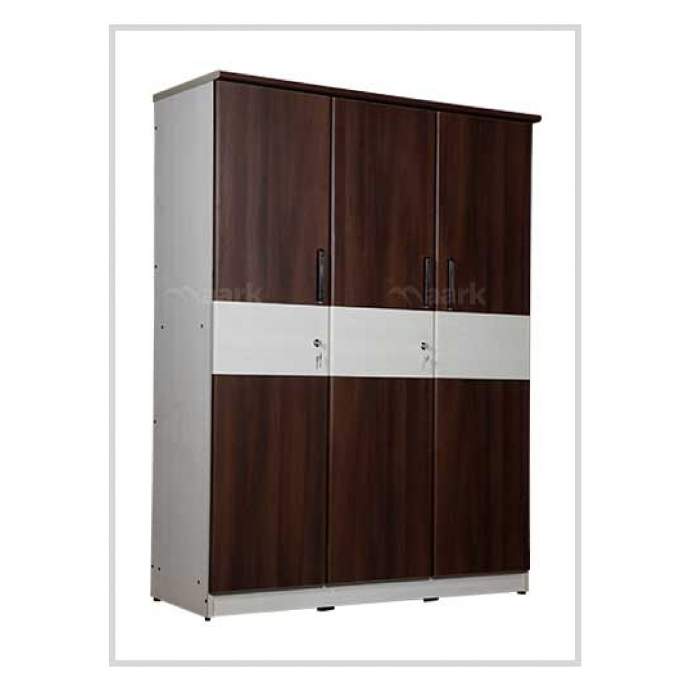 Wooden Three Door Wardrobe in Brown and White Color