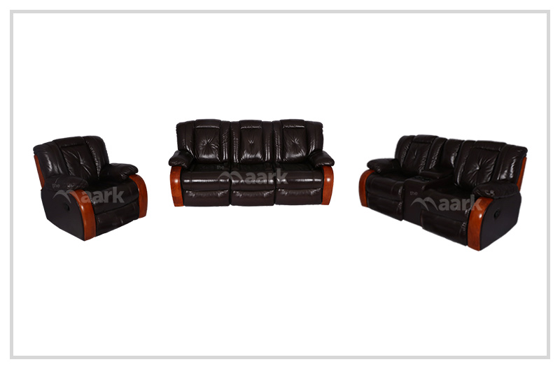 Black Leather Recliner Sofa 3+2+1