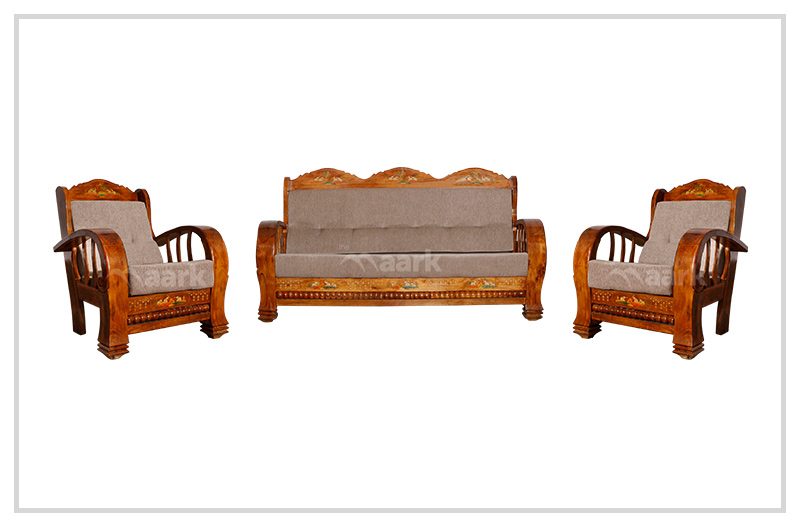 Fabric Teak Wood Art Craft Sofa Set 3+1+1