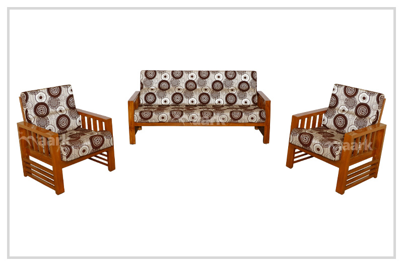 Modern Fabric Teak Wooden Sofa Set 3+1+1