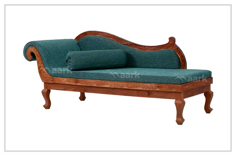 Plain Green Wooden Fabric Divan Sofa Bed